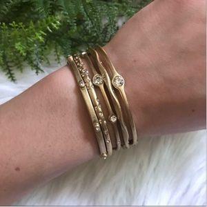 [Lia Sophia] Gold Tone Bracelet Set w/Jewel Accent